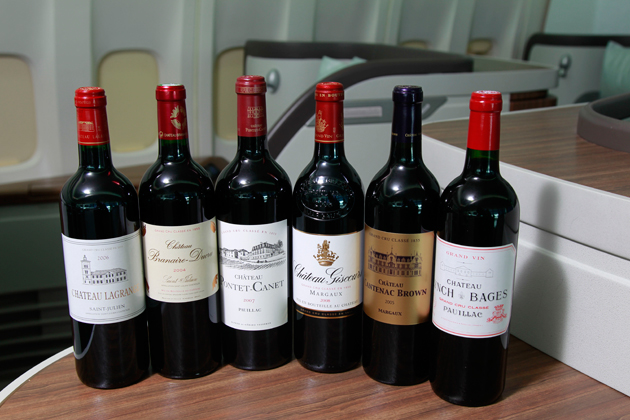 Cathay Pacific Airways today announced the latest enhancement to its award-winning inflight cellar – the introduction of six fine Bordeaux Grands Crus Classés wines in First Class. The six featured wines are: (from left) Château Lagrange 2006, Château Branaire-Ducru 2004, Château Pontet-Canet 2007, Château Giscours 2008, Château Cantenac Brown 2005, and Château Lynch Bages 2004.