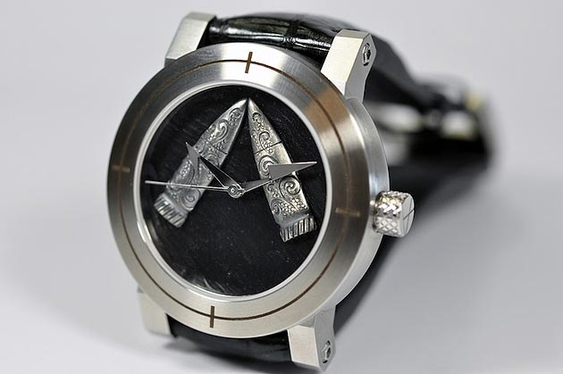 ArtyA's Werewolf watch with silver bullet in collaboration with author Gregory Roberts.