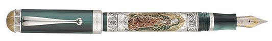 Skilled craftsmen hand-etched the designs applied to the pen's body. The Virgin's aura is attained with golden foil applications, made all the more vivid by the red and green ceramic accents on her mantle. The watermarked and etched designs making up the churches, the borders and the pen's frame have been outlined with a carefully applied and unique type of ink.