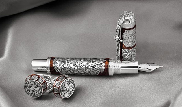 The Montegrappa Mayan Calendar limited edition pen in sterling silver or 18k Gold.