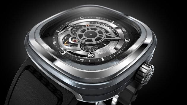 "The Sevenfriday P1 watch, cool and slightly restrained in the coloring symbolizes the present industrial esthetics, the ""Industrial Essence"". For this reason the colors silver, black and rhodium are mainly used."