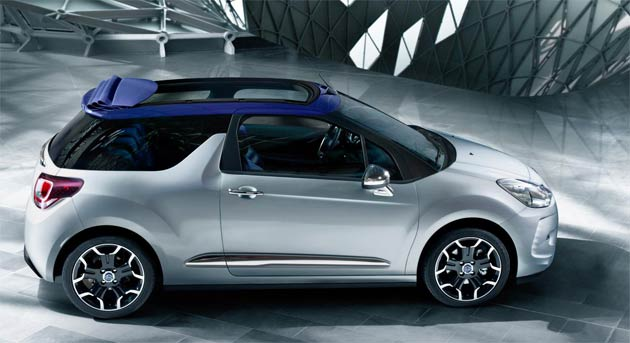 A striking addition to the DS3 range, the Citroen DS3 Cabrio features all the hallmarks and thrills of DS3, with bold styling, sophisticated refinement, extensive personalisation and enjoyable handling, combined with the pleasure of al-fresco driving. Continuing DS3's personalisation options, three soft-top roof styles will be available - black, Infinite blue and a DS Monogrammed design. An innovative 3D rear light signature and original tailgate opening action add to the refinements.