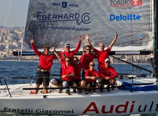 Looking at the overall category ranking, we have to mention the extraordinary results of the Audi Eberhard Melges 24, which faced the World Championship: after the triumphs at the International Austria Cup, the Kieler Woche and the Torbole podium, the team also won the German Open Championship Melges 24 - valid race for the Melges 24 World Ranking - which sow the participation of 25 teams from four countries.