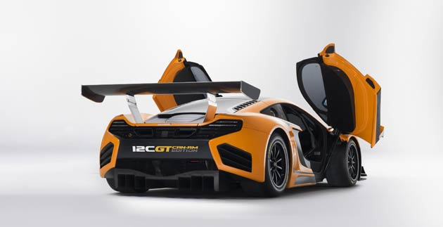 The dramatic appearance of the 12C GT Can-Am Edition is dominated by the large carbon fibre rear wing. This forms part of a unique high downforce aerodynamic package which has been honed by McLaren Racing using Formula 1 technology and simulation, and offers an increase in downforce by 30 per cent. Further carbon fibre components enhance the styling of the track car, further differentiating it from the GT3 racing version. These include door mirror mounts and covers, engine cover vents, side radiator intake vanes, sill covers and badges.