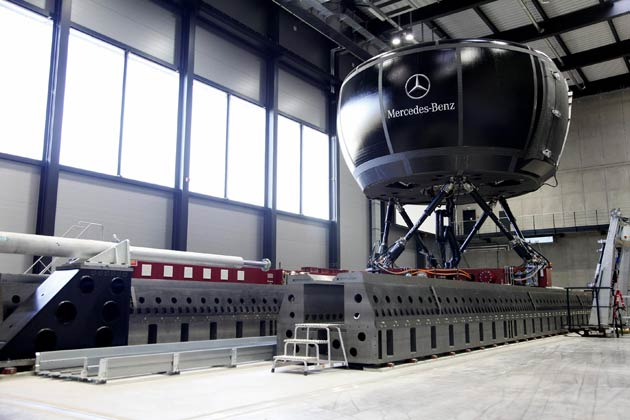 "The safety experts from Mercedes-Benz developed and fine-tuned the new safety systems during countless test runs, but they also proved their effectiveness and acceptance with test subjects in the in-house ""Moving Base"" driving simulator. With its 360° screen, fast electric power system and the twelve-metre-long rail for transverse or longitudinal movements, the simulator is one of the most powerful of its kind in the entire automotive industry."