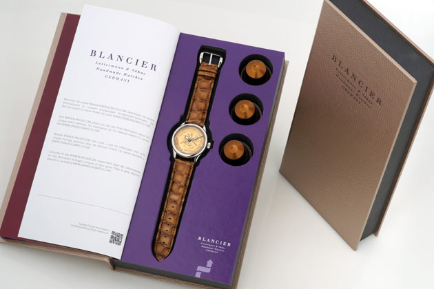The Blancier Grand Cru watches are fully sustainable and are presented with a book shaped box that looks so good, it will have to be kept and displayed proudly.