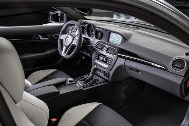 """The decidedly sporty yet functional interior of the C 63 AMG is even more dynamic and exclusive in the case of the """"Edition 507"""". Three different equipment and appointment variants are available to choose from: Porcelain designo leather/DINAMICA, Black designo leather/DINAMICA and Black designo leather."""