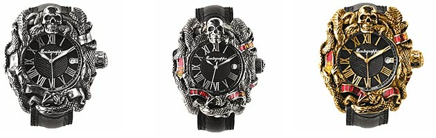Each Chaos watch features the signature skull-and-serpents motif that continues around the case, even including a small, engraved skull on the winding crown.
