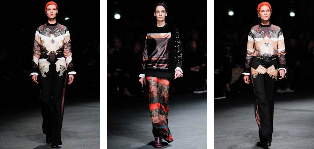 Looking at the gypsy aethetics borrowing men's clothes but adding femininity in cutting and mixing them with women's pieces, Riccardo Tisci creates a collection constantly playing with the feminine and the masculine.