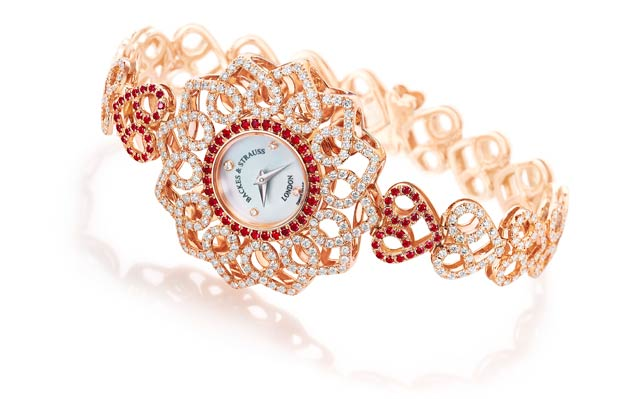 The Victoria Princess Red Heart watch has a liberal sprinkling of perfectly formed rubies accentuating the hearts upon the bracelet and highlighting the watch dial, these are accompanied by the world renowned Backes & Strauss' trademark 'ideal cut' diamonds.