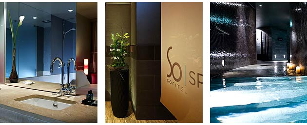 A typical bathroom and the SoSPA at the Sofitel Munich