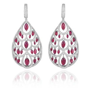 A pair of ruby (9cts) and diamond (3cts) earrings set in 18k white gold from the Red Carpet collection