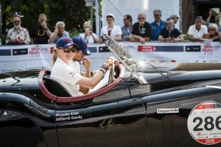 Jodie Kidd and David Gandy at Mille Miglia 2015