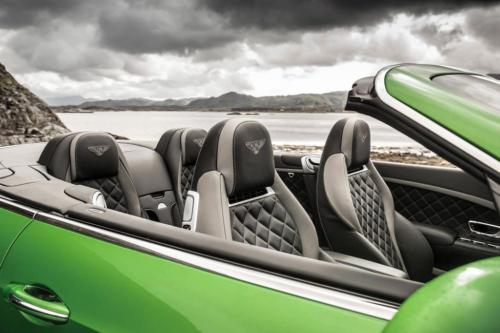 The intricate stitching inside the Bentley GT Speed Convertible