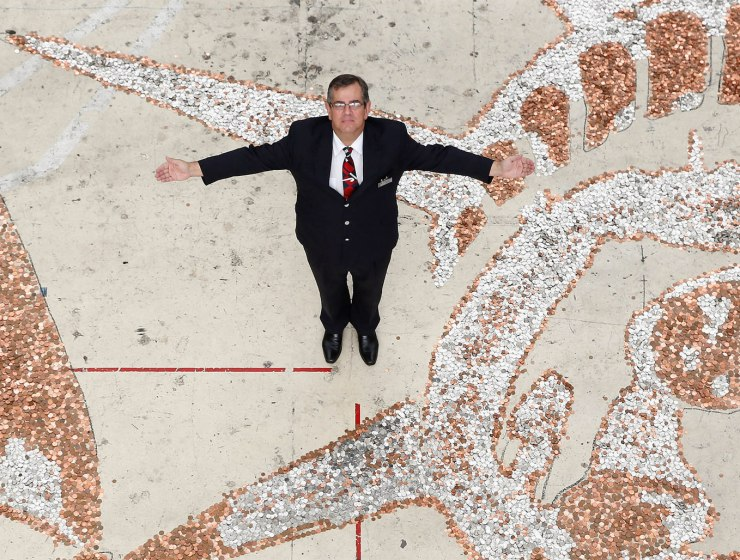British Airways workers at Heathrow create work of art from 600,000 coins