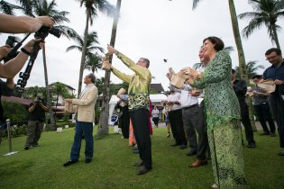 The releasing of the sparrows at the Club Saujana Resort in Kuala Lumpur