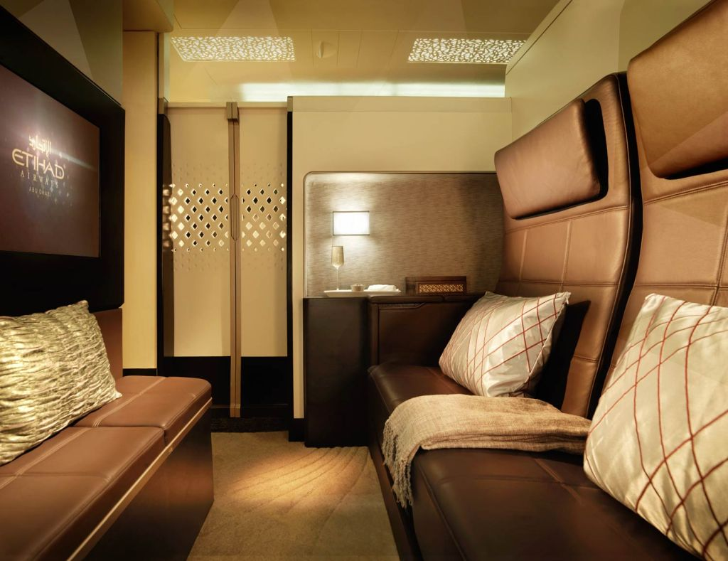 Picture showing the interior of a private cabins luxury lounge on an Etihad aircraft