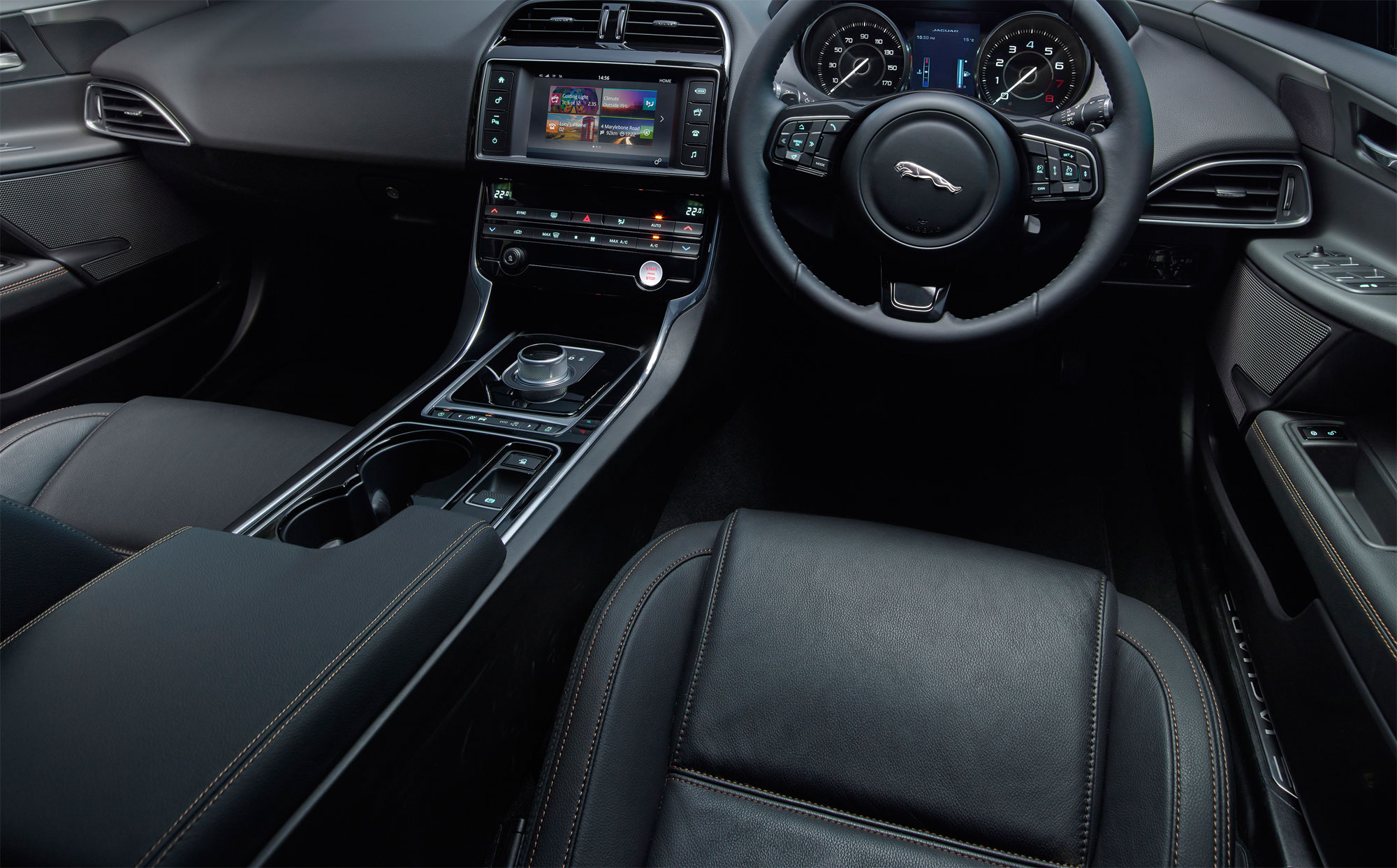 The spacious and full-leather interior has been nicely styled