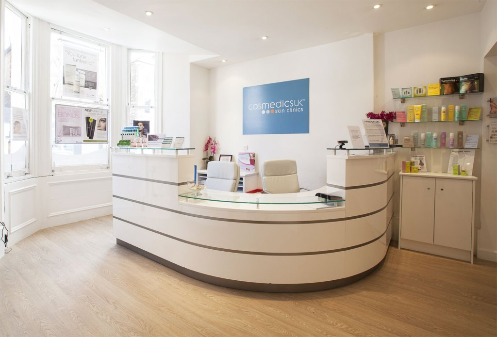 Reception area within Cosmedics Skin Clinic