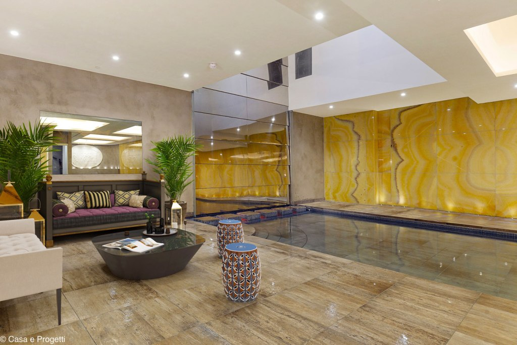 The spa and swimming pool