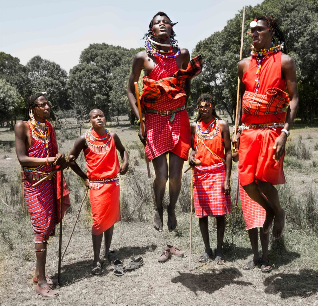 Maasai tribespeople jumping