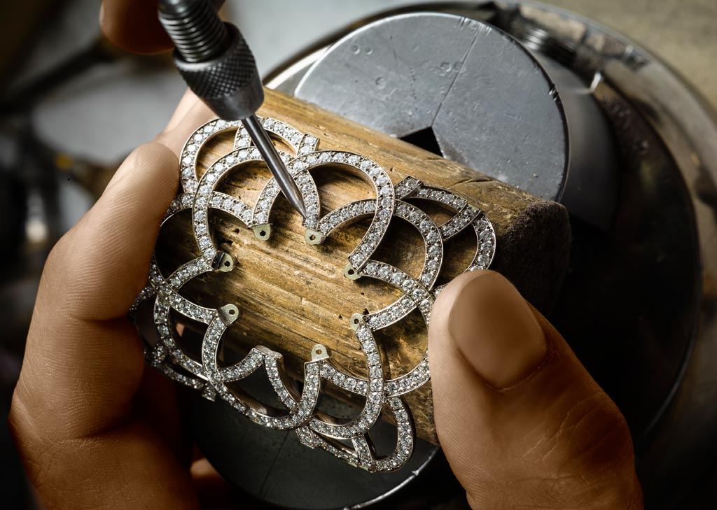 A Piaget engraver working on one of the jewellery pieces