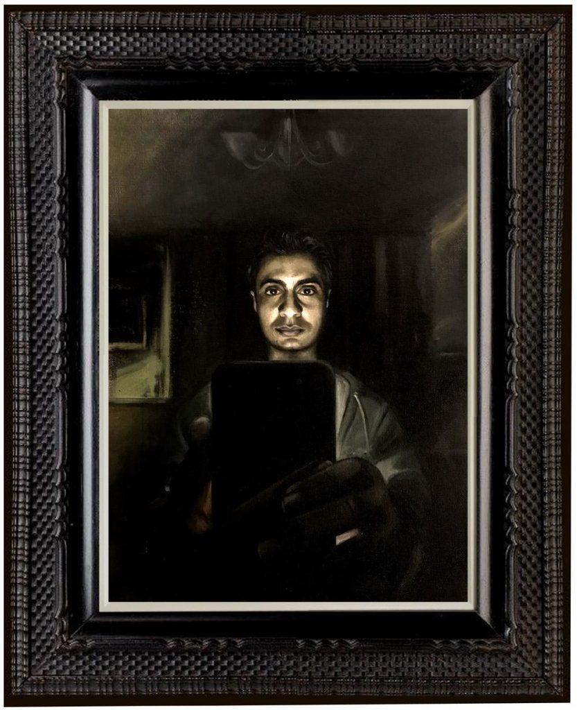 "Self Portrait: #No filter, 16"" x 12"" Oil on canvas, 2018"