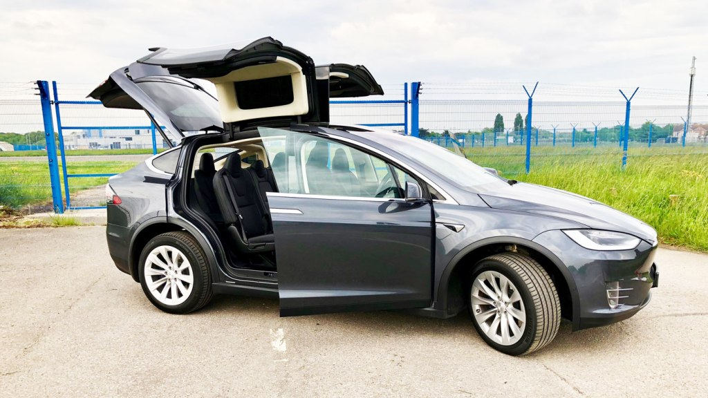 The superb Falcon Wing doors of the Tesla Model X
