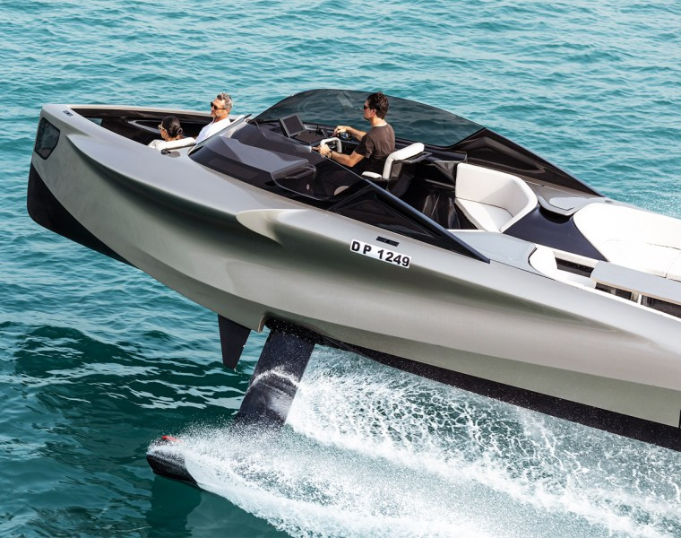 Flying above the water in the 2020 version of the ENATA Foiler.