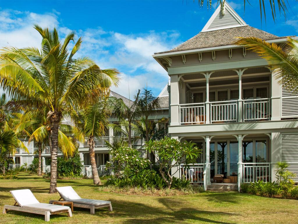 The exterior of the St. Regis Mauritius Resort.