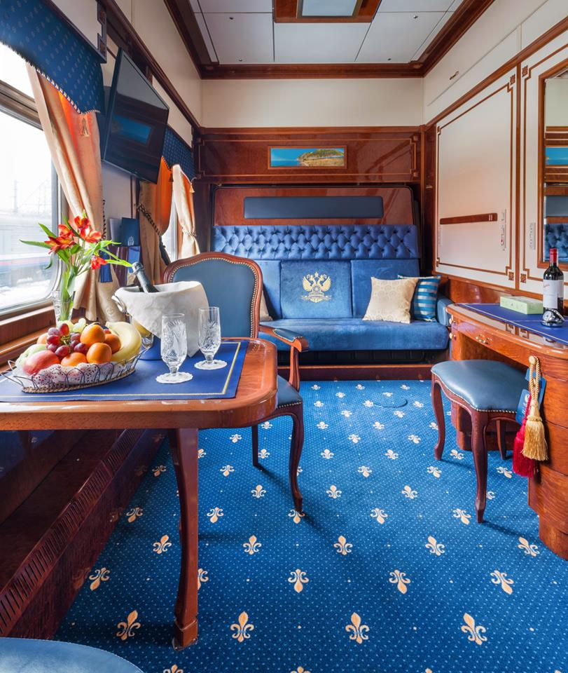 Inside one of the Golden Eagle Luxury Trains suites