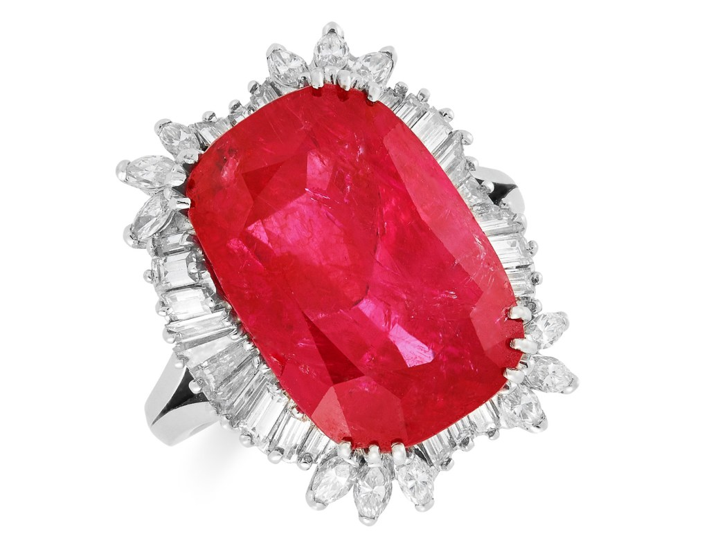 Rare 14.67 Carat Natural Burmese Ruby & Diamond Ring to be Auctioned