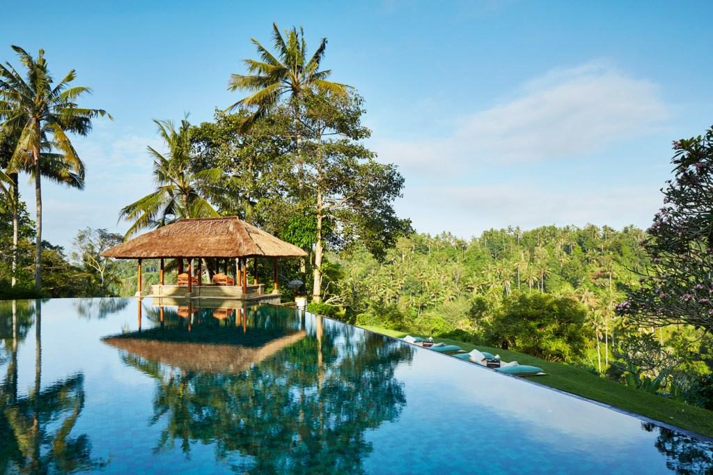 The beautiful infinity pool at the Amandari in Bali.
