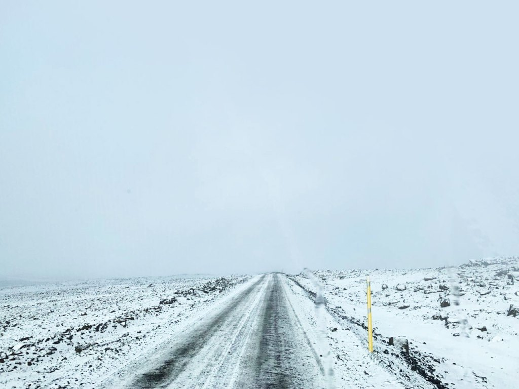 Driving out on to Langjökull glacier in Iceland.