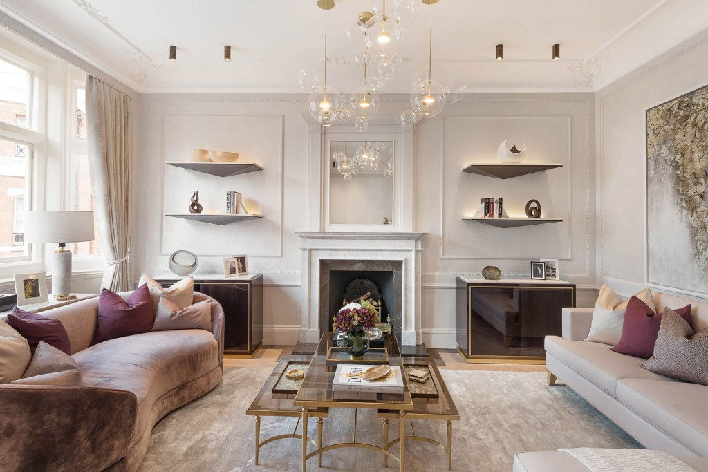 The reception room inside the One Point Six Cadogan Gardens property