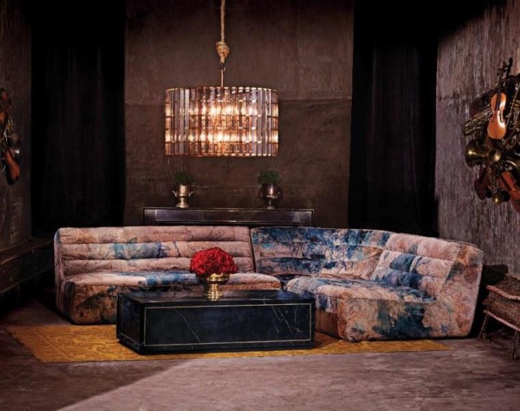 Timothy Oulton Shabby sectional sofa in Melting Paisley velvet