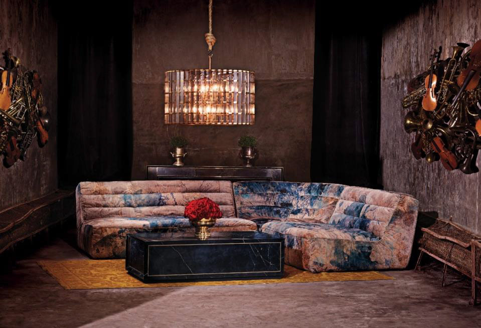 Timothy Oulton Shabby sectional sofa in Melting Paisley velvet
