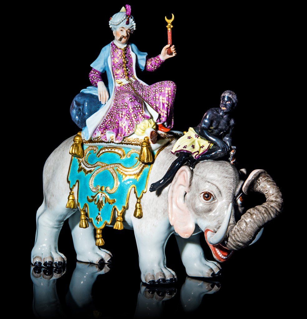 A Sultan Riding on an Elephant with a Mahout Early 19th century Meissen