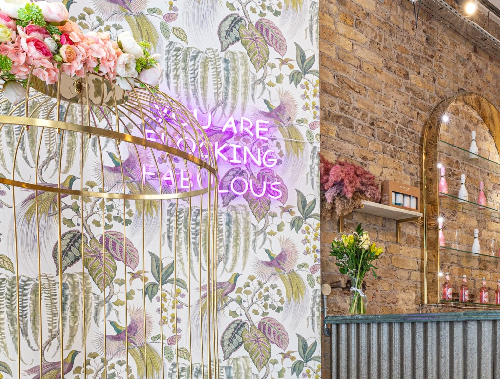 Neon 'You are Looking Fabulous' sign in Duck & Dry Mayfair