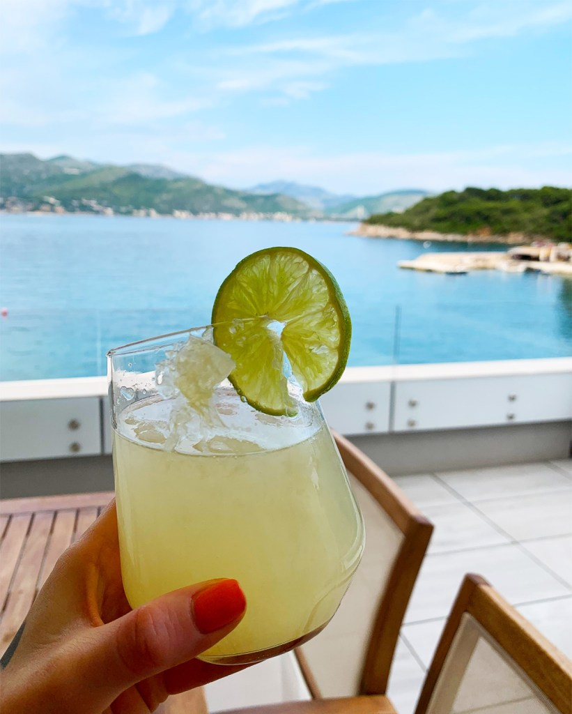 Enjoying a drink on Koločep Island in Croatia