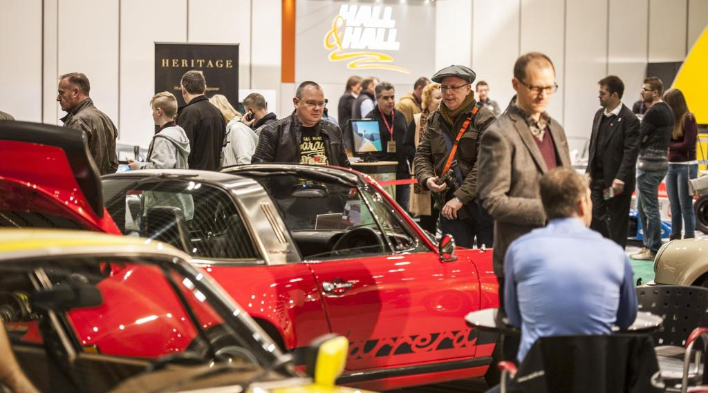 People at the London Classic Car Show