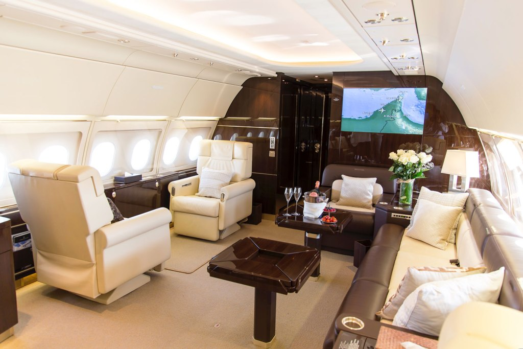 The interior of a luxury private jet