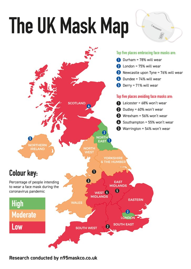 Areas of the UK embracing face mask wearing