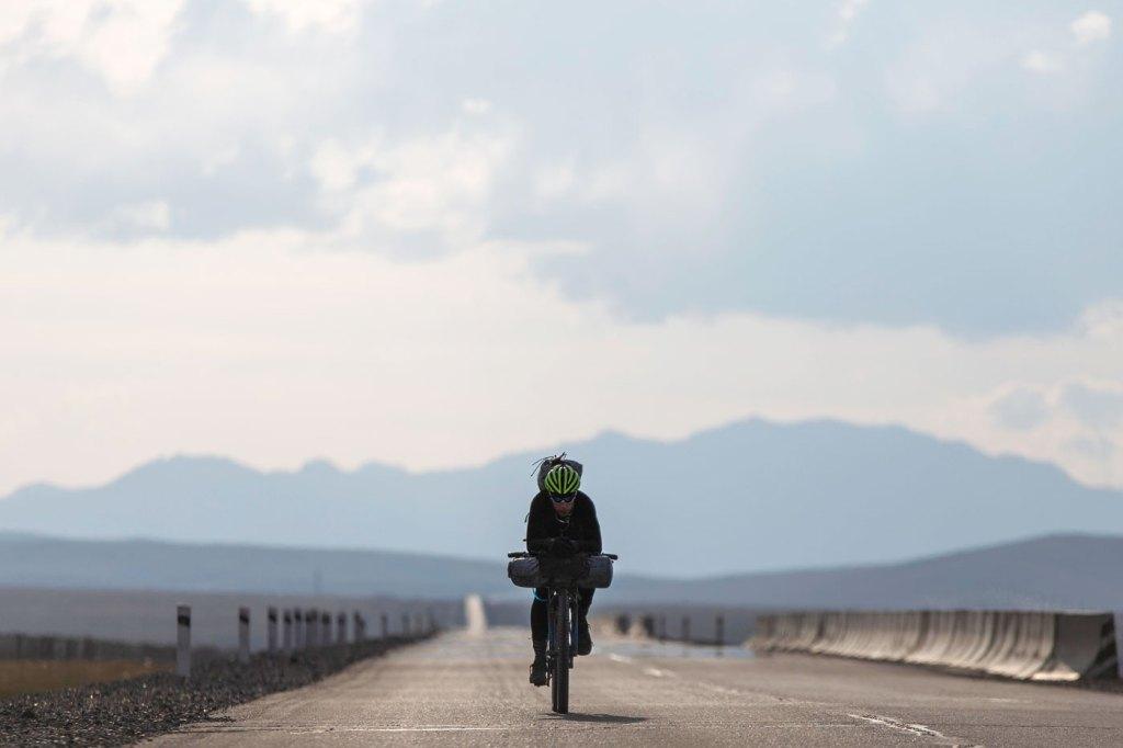 James Hayden Bike-Packing on open road