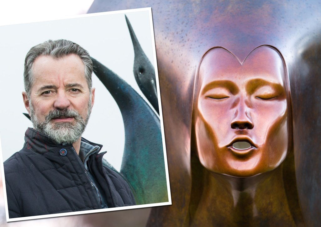 Sculptor Simon Gudgeon with Whispering Spirit