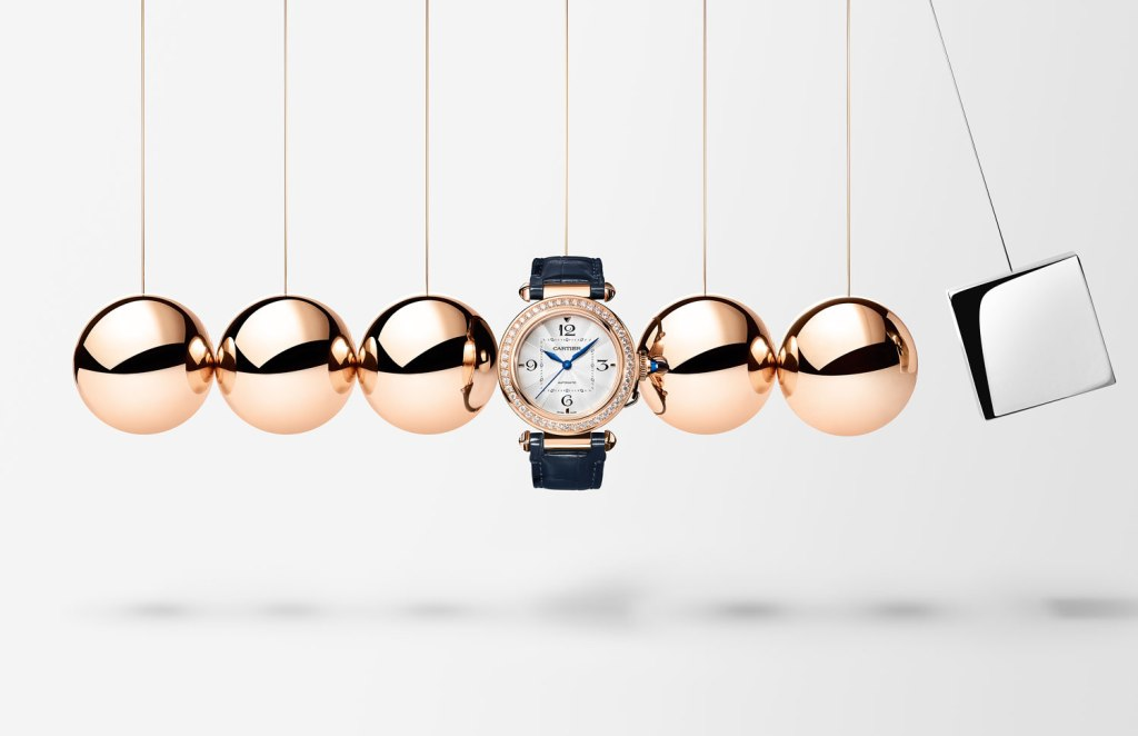 Cartier Pasha watch in pink gold with diamonds