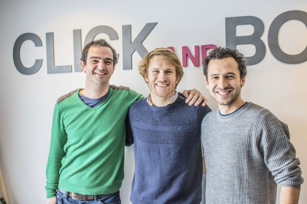 Click&Boat Founders Edouard Gorioux and Jérémy Bismuth with François Gabart.