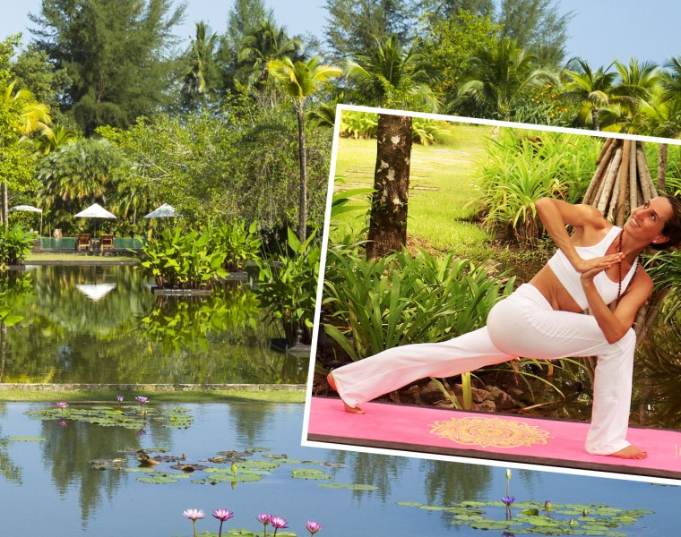 Yoga teacher Justine Capdevielle at The Sarojin
