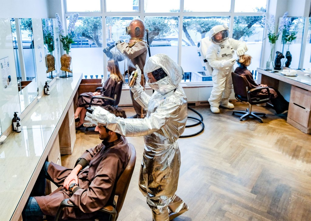 Michael Van Clarke's Hairdressing Team Takes PPE to the Next Level!