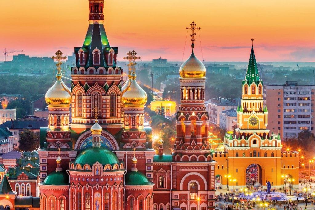 Moscow skyline at dusk